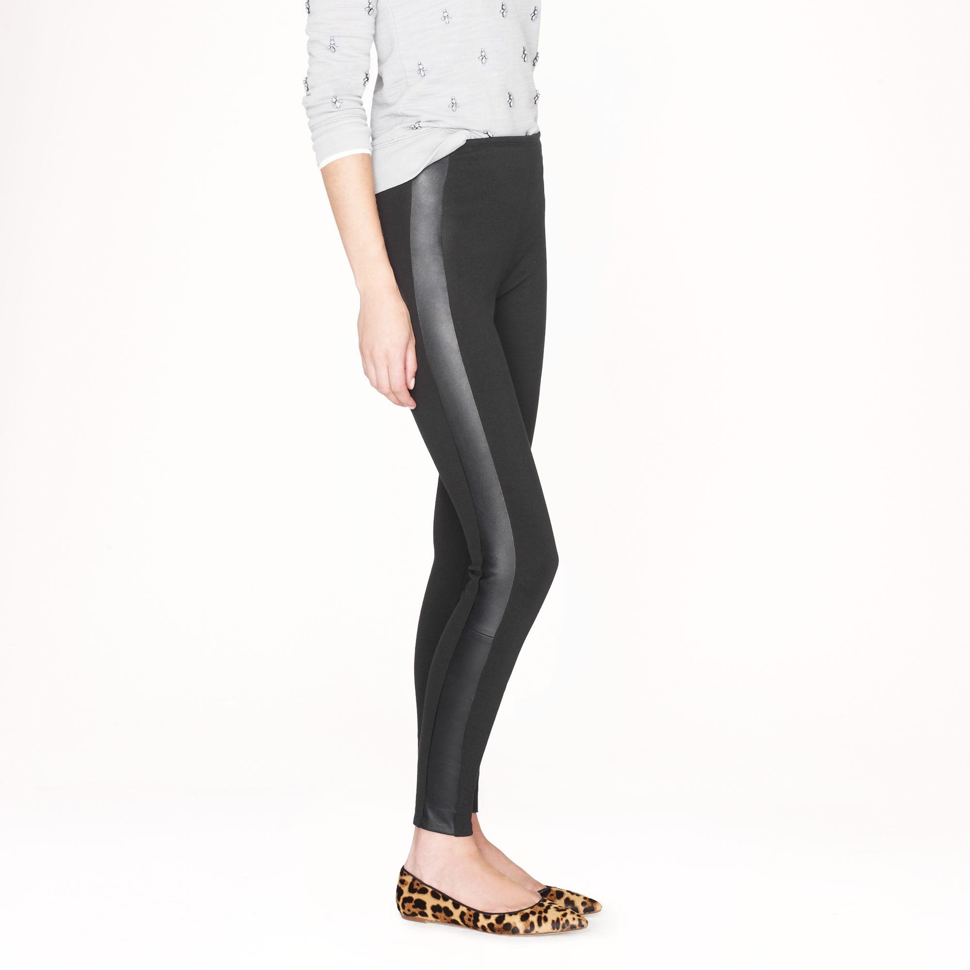 J Crew Tall Pixie Pant In Leather Tuxedo Stripe In Black