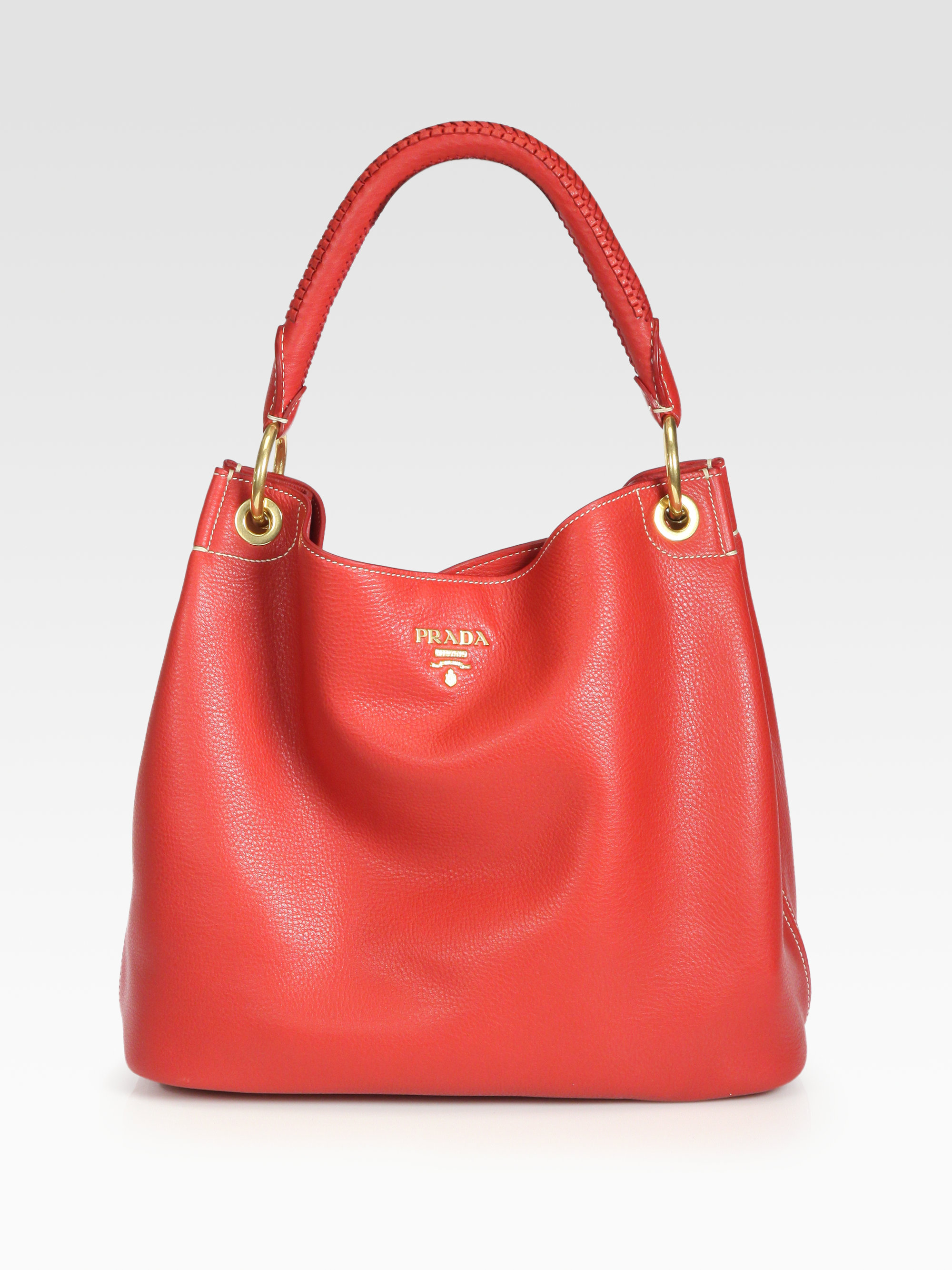 aeea506d5178 Lyst - Prada Vitello Daino Hobo Bag in Red