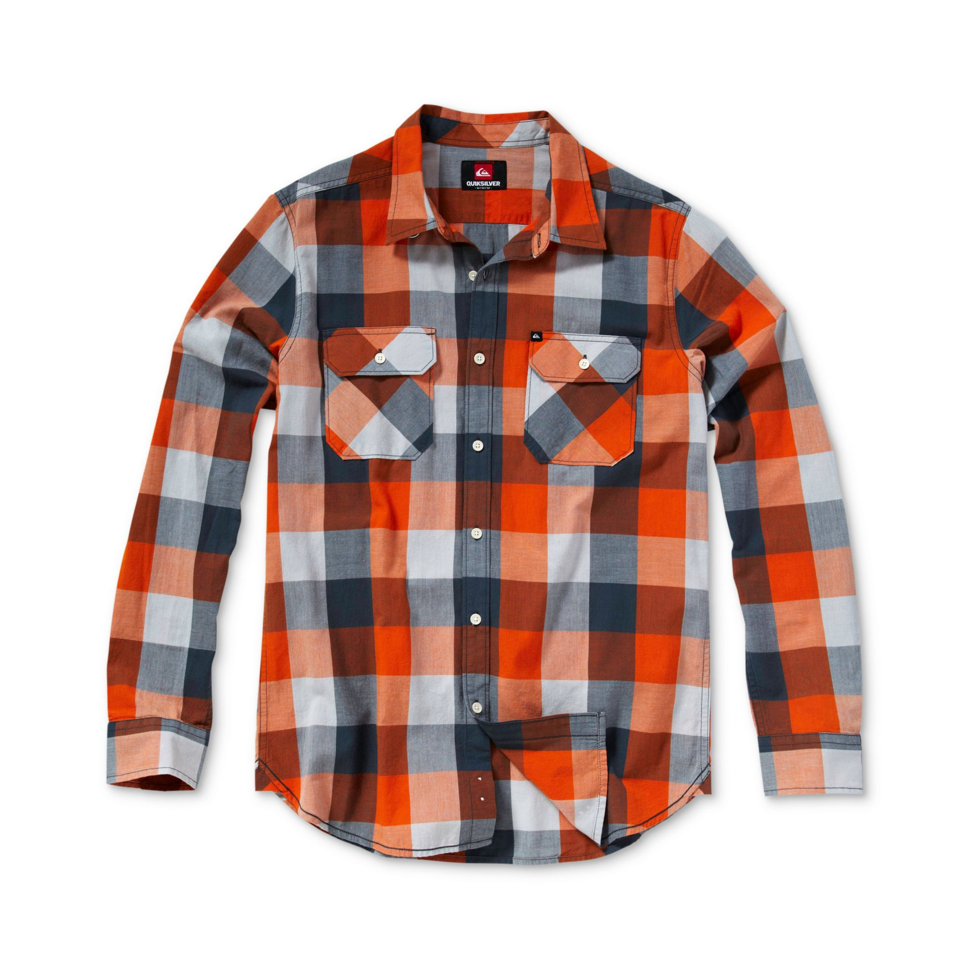 Quiksilver Running Bull Long Sleeve Plaid Shirt In Orange