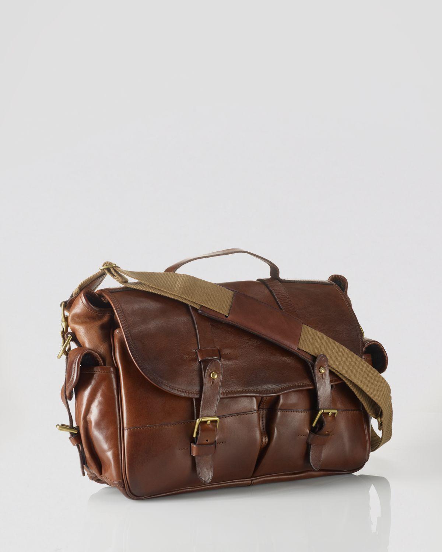 38be7911de86 ... closeout lyst ralph lauren polo leather messenger bag in brown for men  37d8b ce14c
