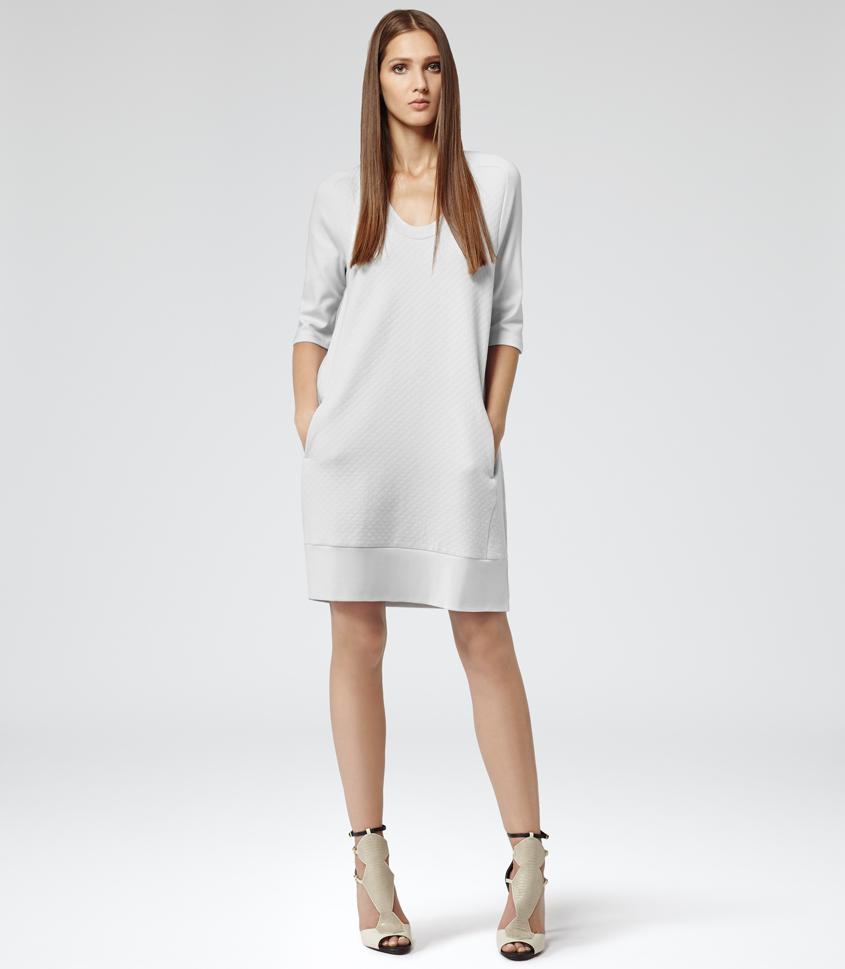 Lyst Reiss Jemma Quilted Sweatshirt Dress In White