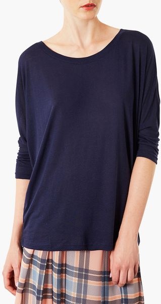 Topshop Elbow Sleeve Oversized Tee in Blue (Navy Blue)