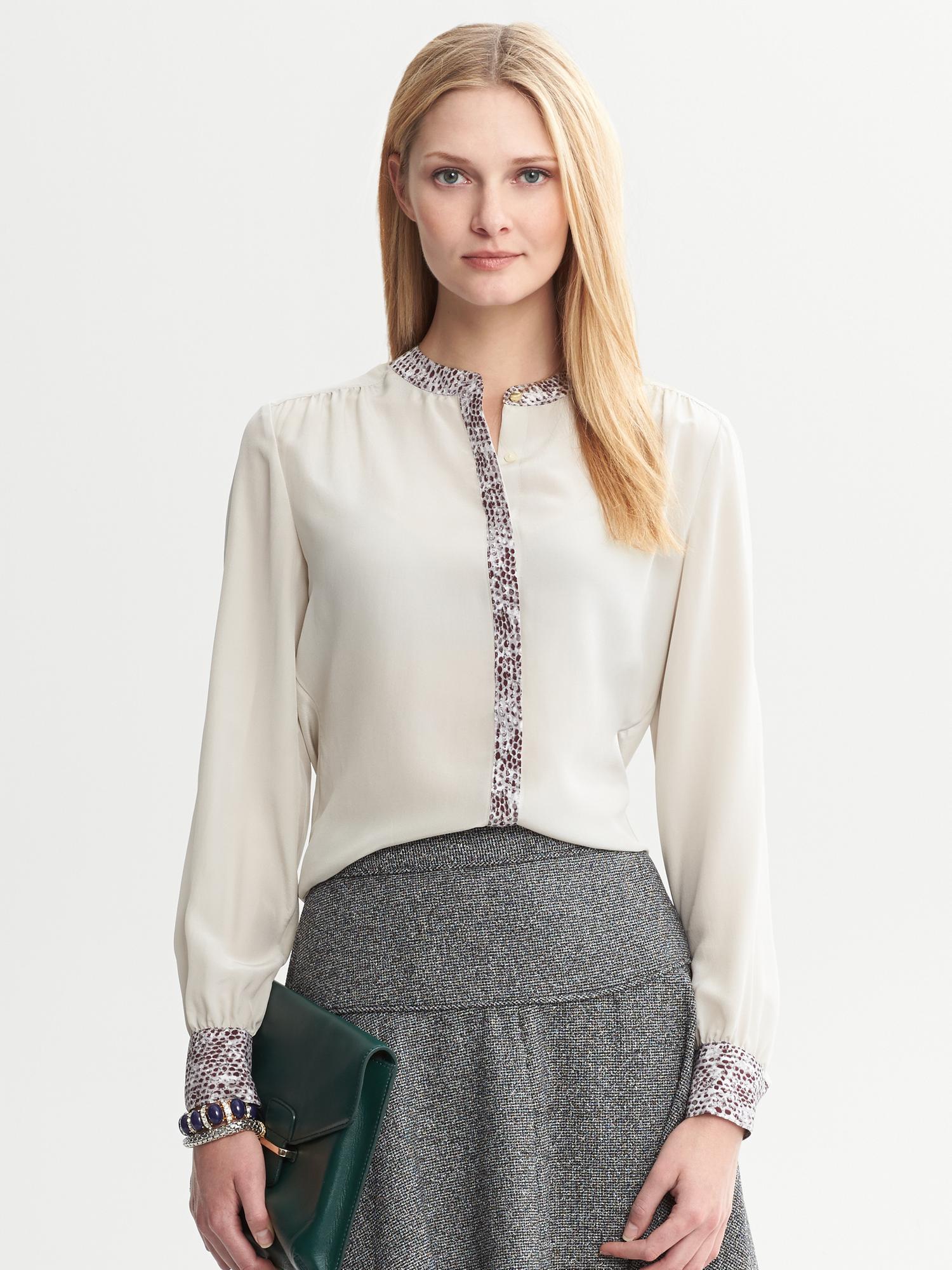 Zara Silk Covered Button Blouse 7