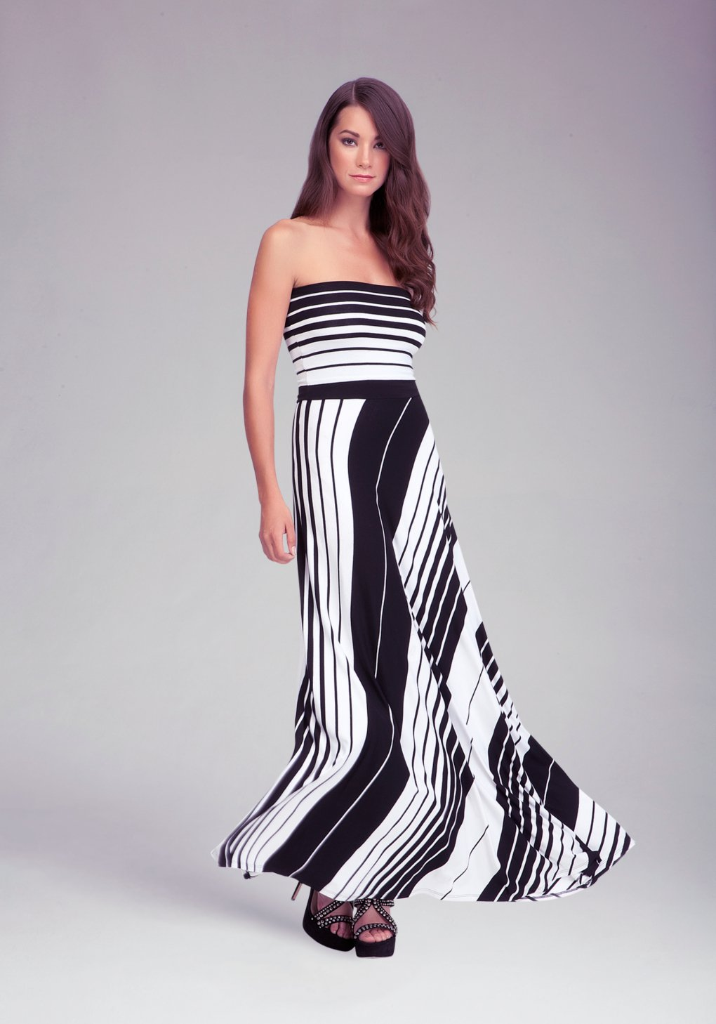 Lyst Bebe Striped Tube Maxi Dress In White