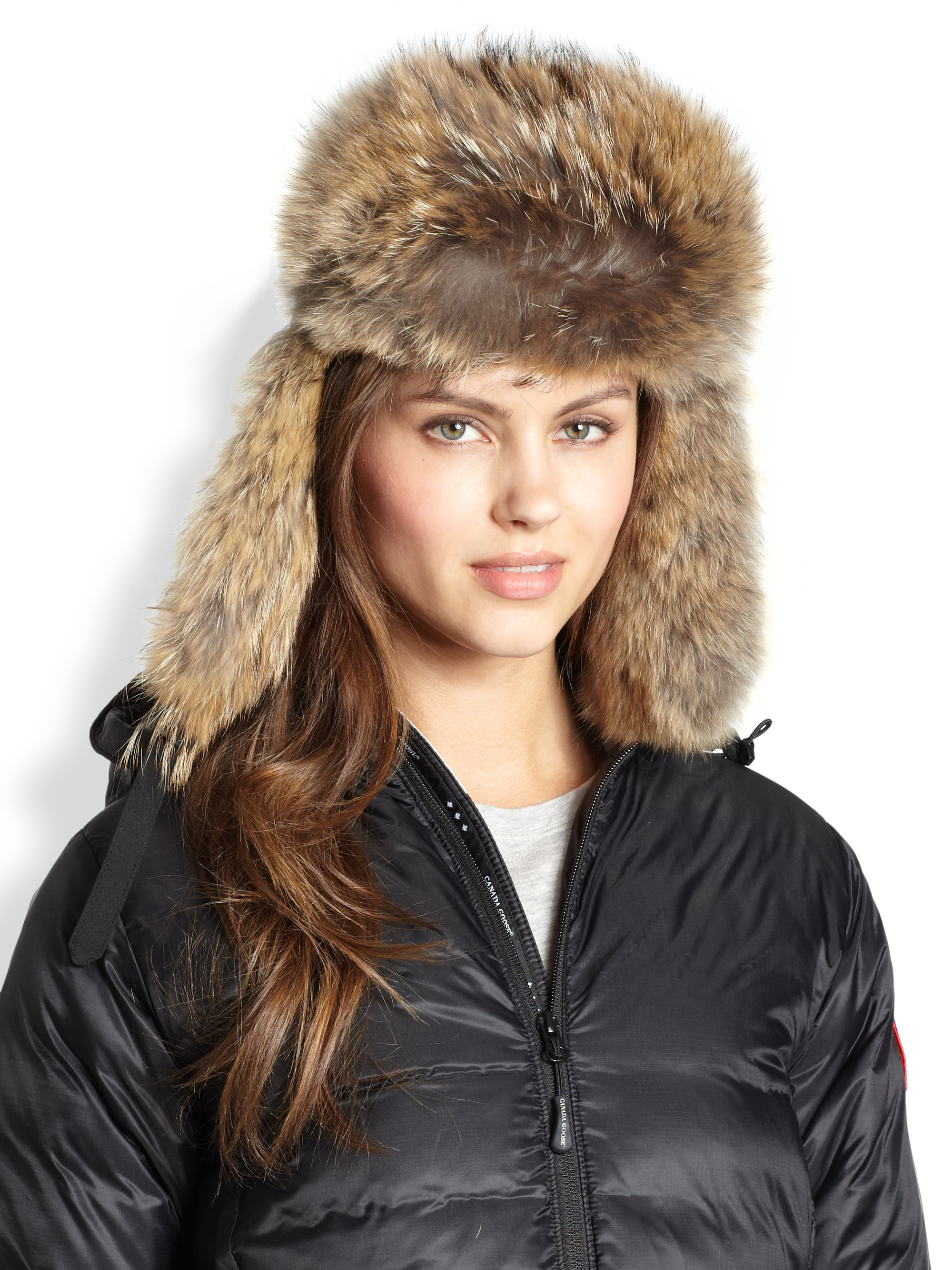6d81253ede1 Lyst Canada Goose Fur Trimmed Down Aviator Hat In Brown