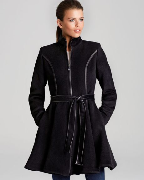 Dawn Levy Coat Fergie Skirted with Belt in Gray (Black)