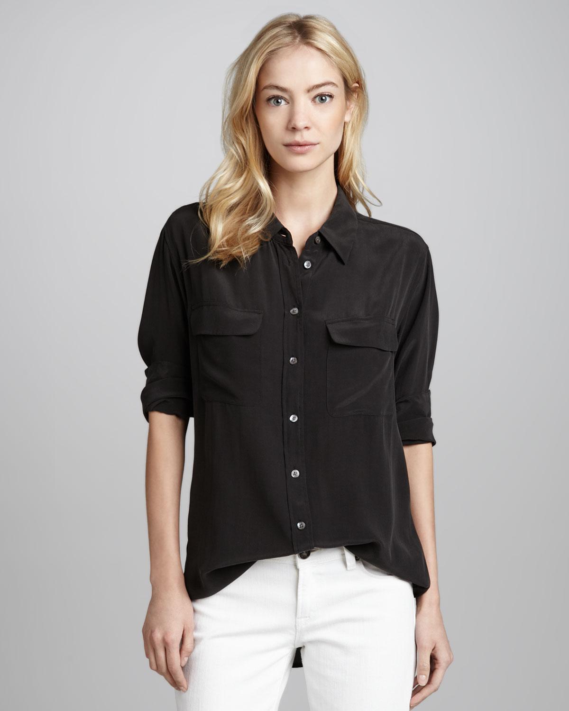 Lyst equipment signature silk blouse true black in black for Equipment black silk shirt