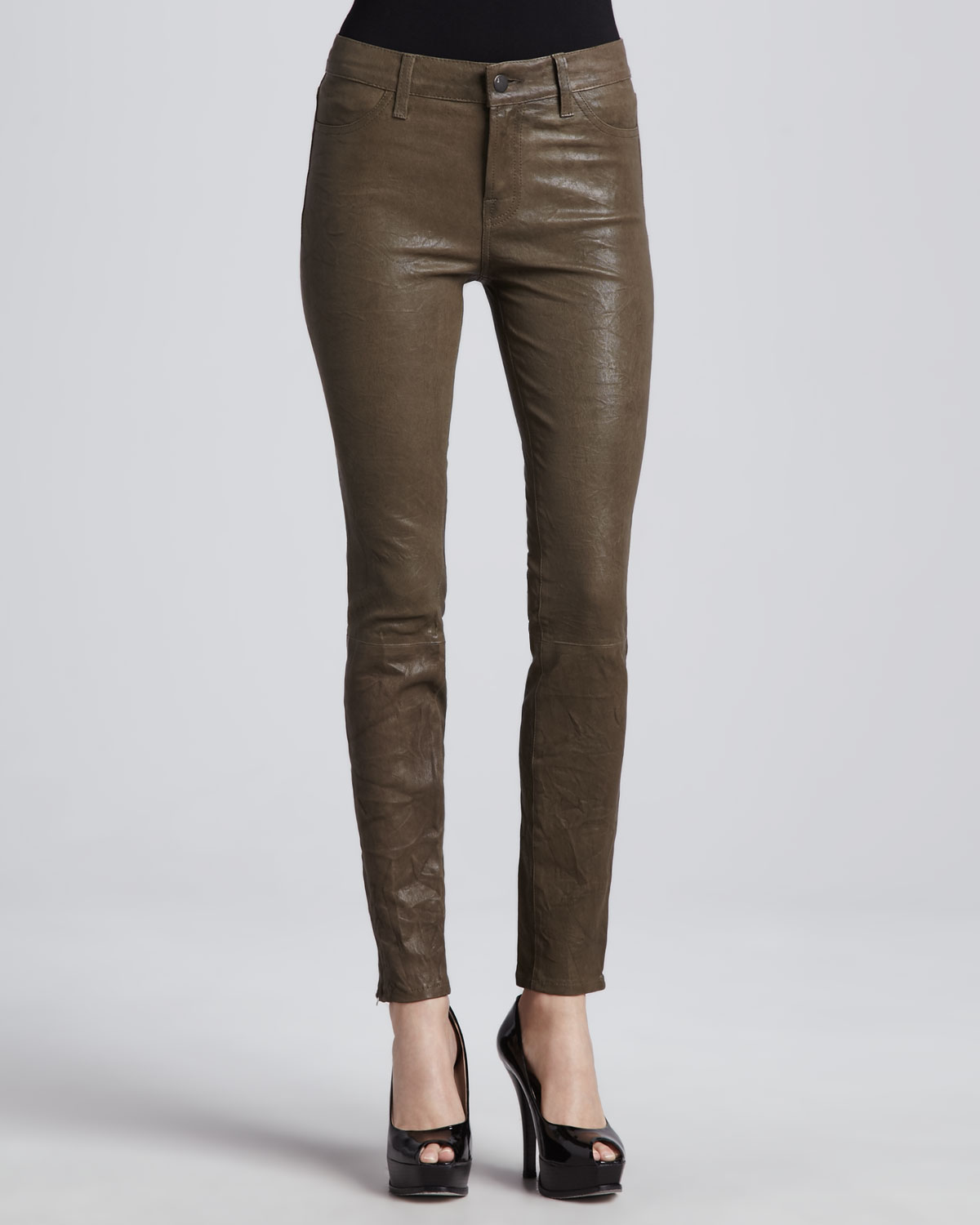 4d076dd2c4c18 Lyst - J Brand Leather Skinny Pants in Iron in Brown