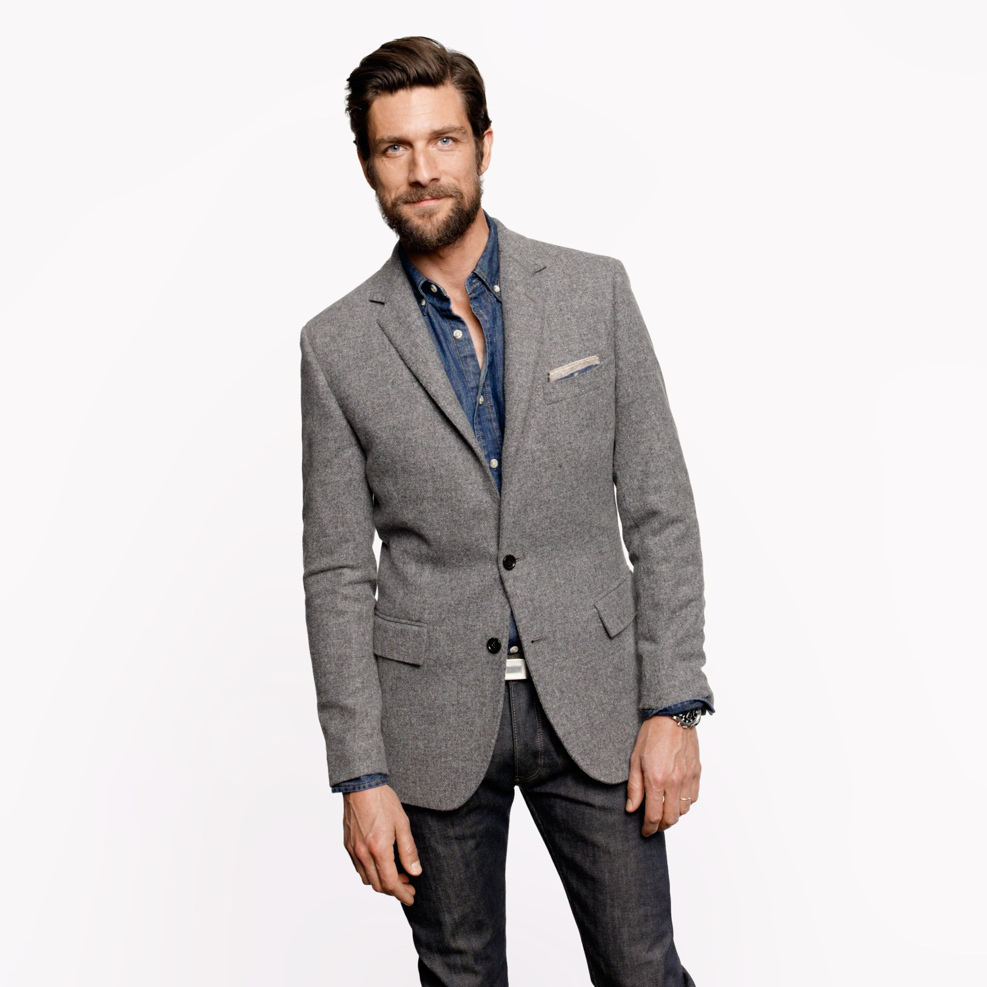 A gray suit or sportcoat ranks very highly on our list for its versatility and timelessness. Even if you'd never dream of stepping foot inside a cubicle, a gray jacket in wool and, perhaps, a seasonal fabric or two will see plenty of use.