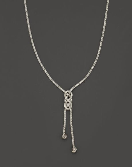 John Hardy Womens Sterling Silver Knot Lariat Necklace 36