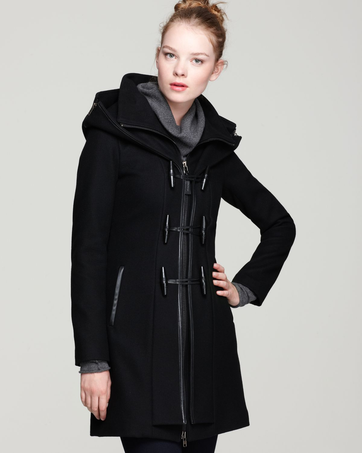 Mackage Steffy Flat Wool Coat with Toggle and Zip Off Hood in ...