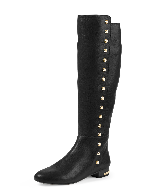 michael michael kors ailee flat studded knee boot in black