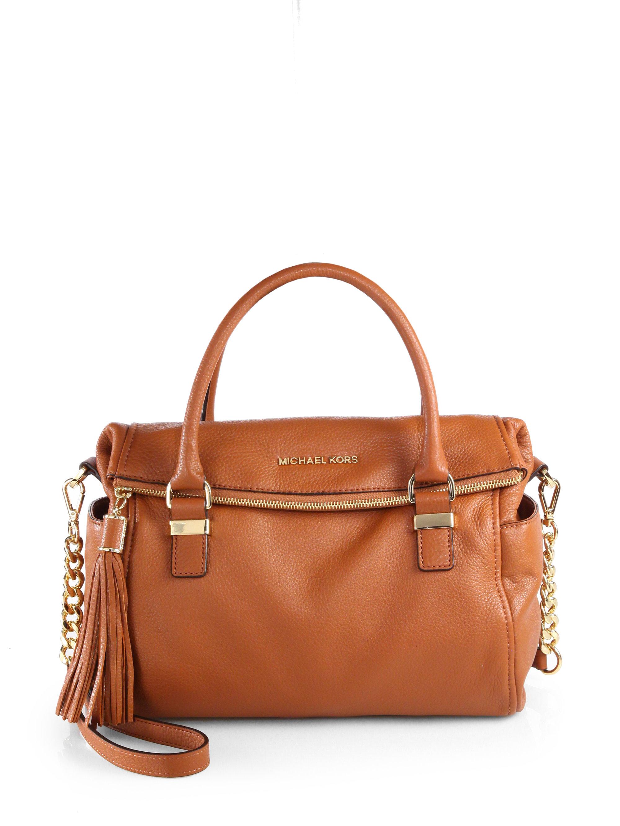 lyst michael michael kors weston medium satchel in brown rh lyst com