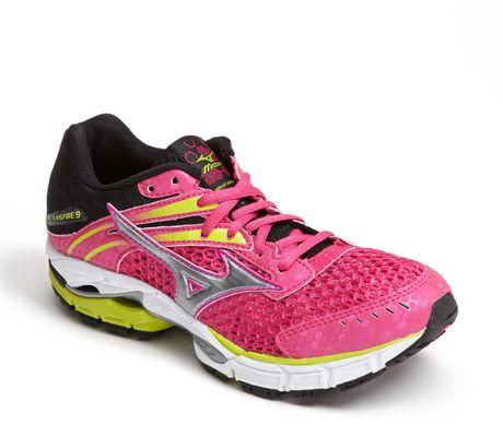 mizuno wave inspire 9 running shoe in pink pink silver