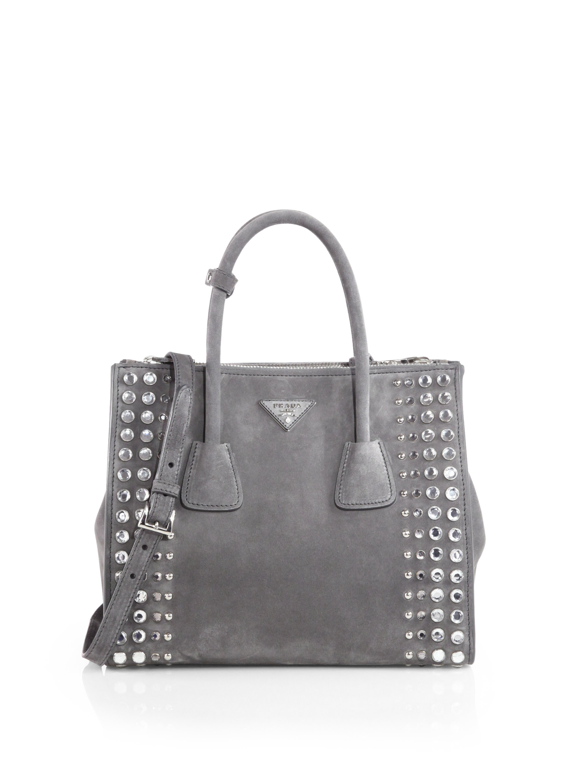 14fae49618ee Prada Studded Suede Twin Pocket Tote in Gray - Lyst