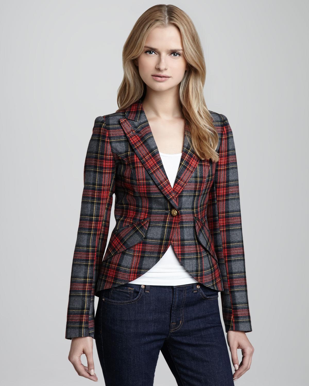 Smythe hunting plaid elbowpatch blazer in red loden plaid for Smythe designer
