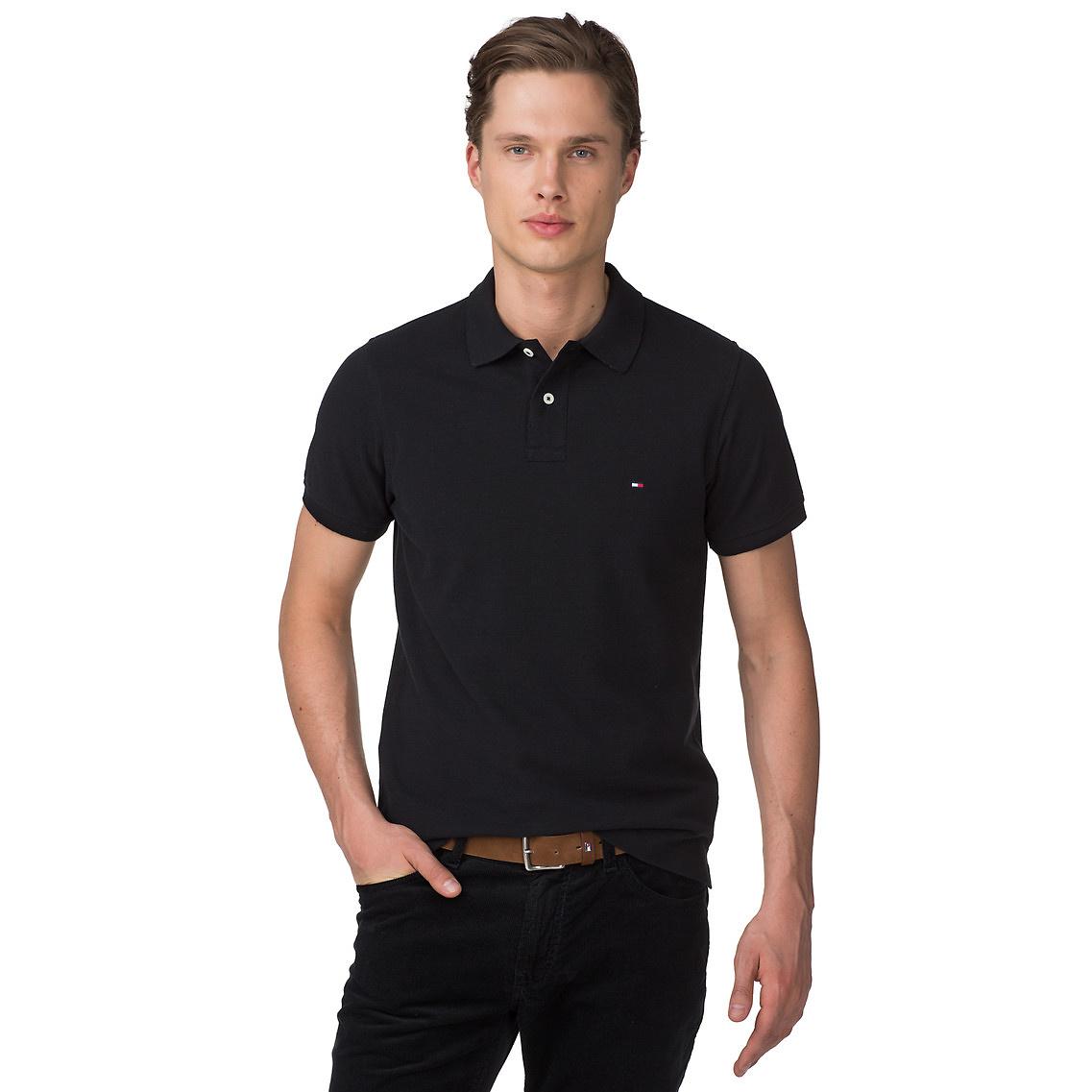 tommy hilfiger tommy slim fit polo in black for men flag black lyst. Black Bedroom Furniture Sets. Home Design Ideas