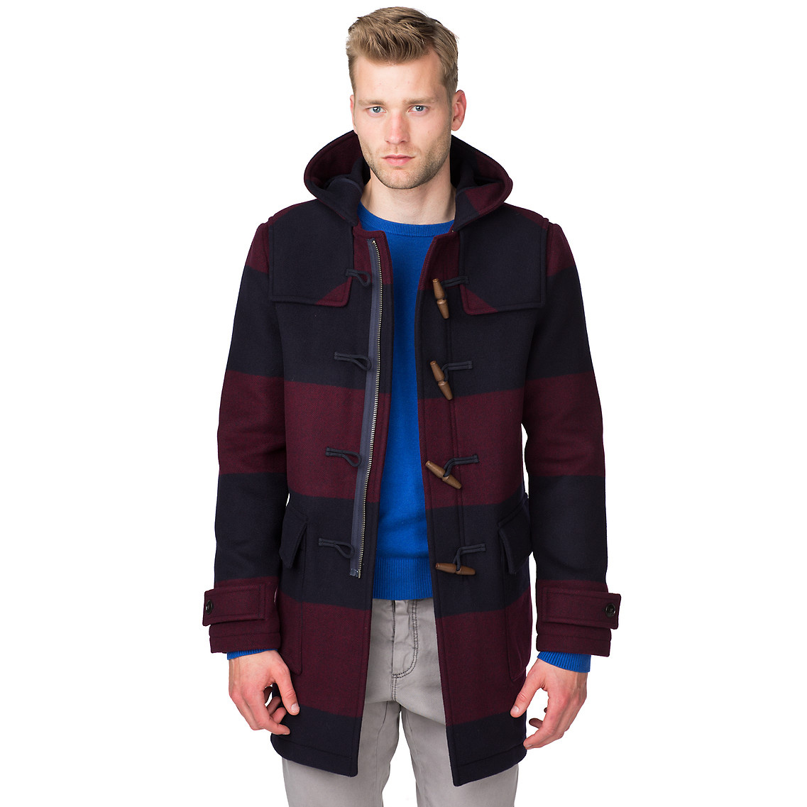 tommy hilfiger tommy striped duffle coat in red for men midnight. Black Bedroom Furniture Sets. Home Design Ideas