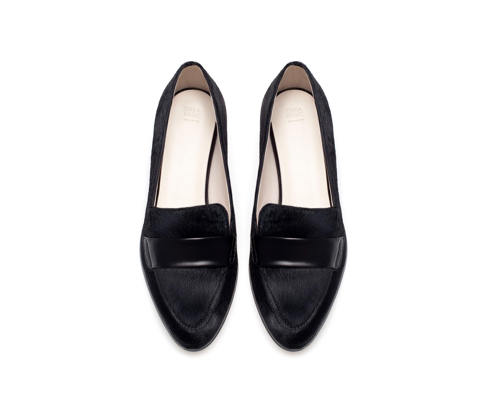 Zara Fur Pointed Moccasin In Black Lyst