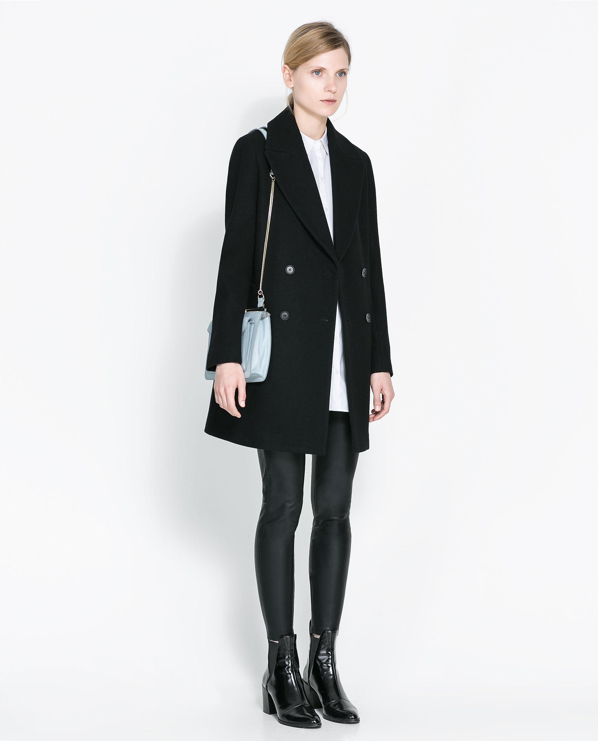 Zara Wool Button Down Coat In Black Lyst