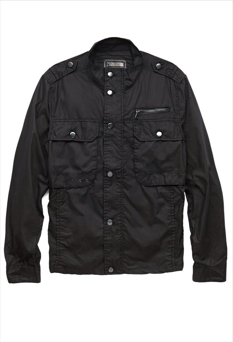 21men Zip Pocket Cargo Jacket In Black For Men Lyst