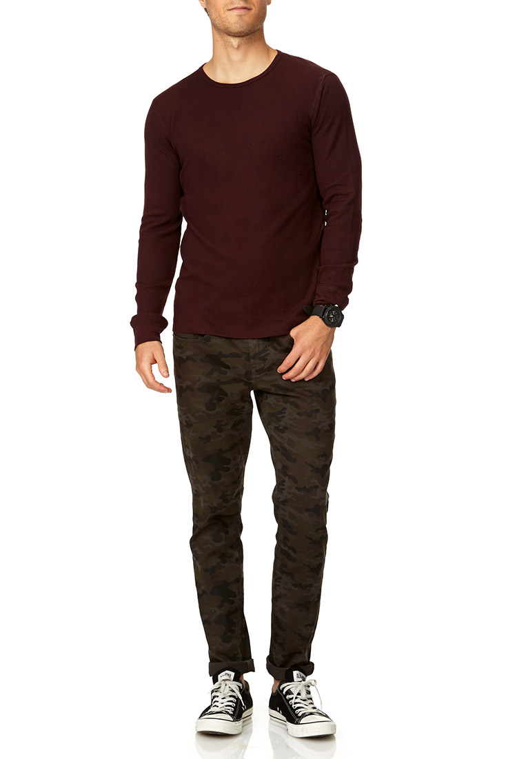 Forever 21 Basic Long Sleeve Thermal in Purple for Men | Lyst