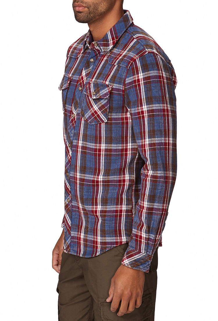 Forever 21 slim fit flannel shirt you 39 ve been added to the for Trim fit flannel shirts