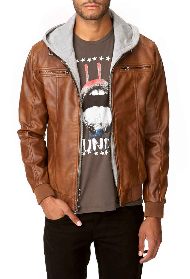 Lyst - Forever 21 Hooded Faux Leather Jacket in Brown for Men