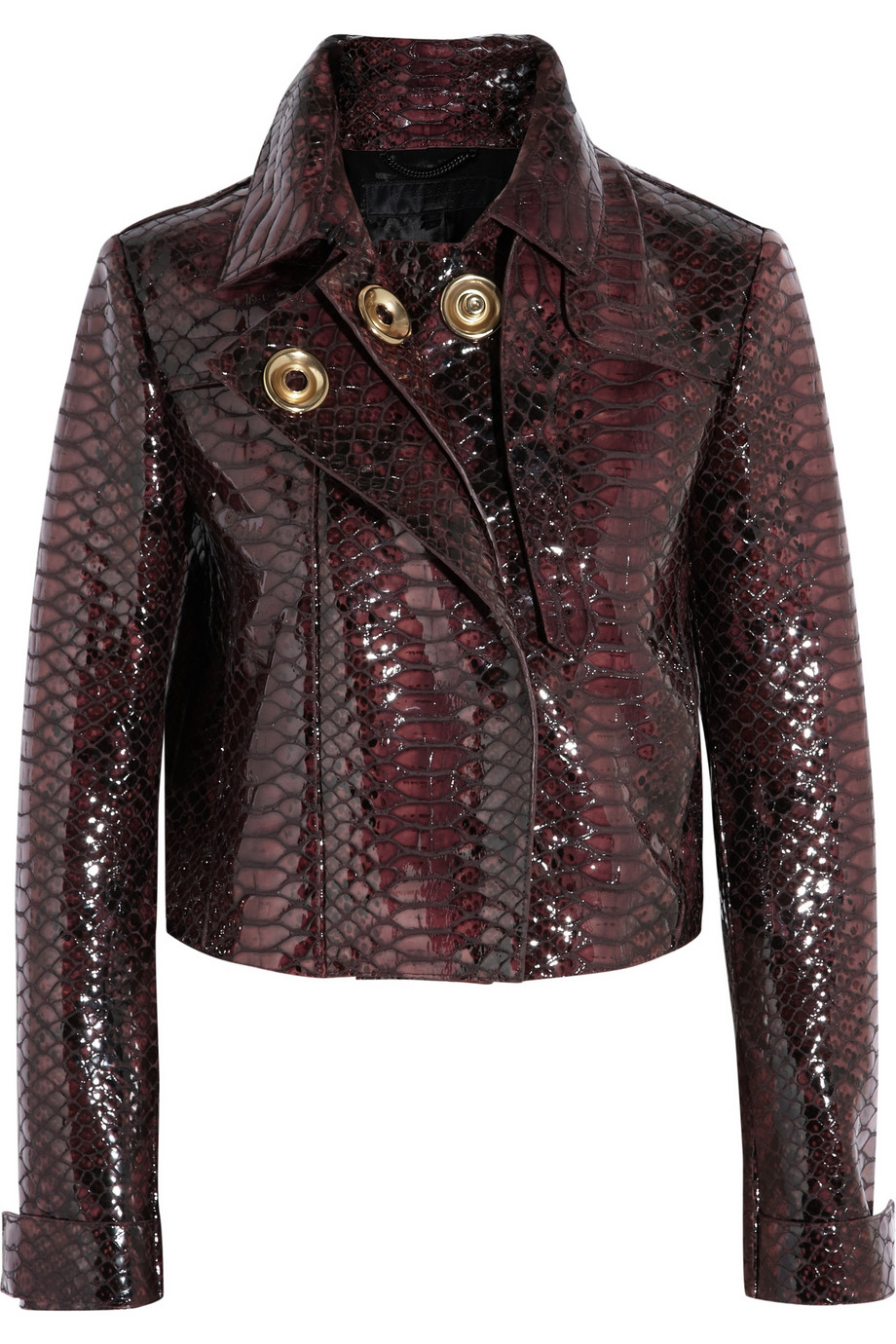 Burberry Prorsum Cropped Croc Effect Glossed Leather