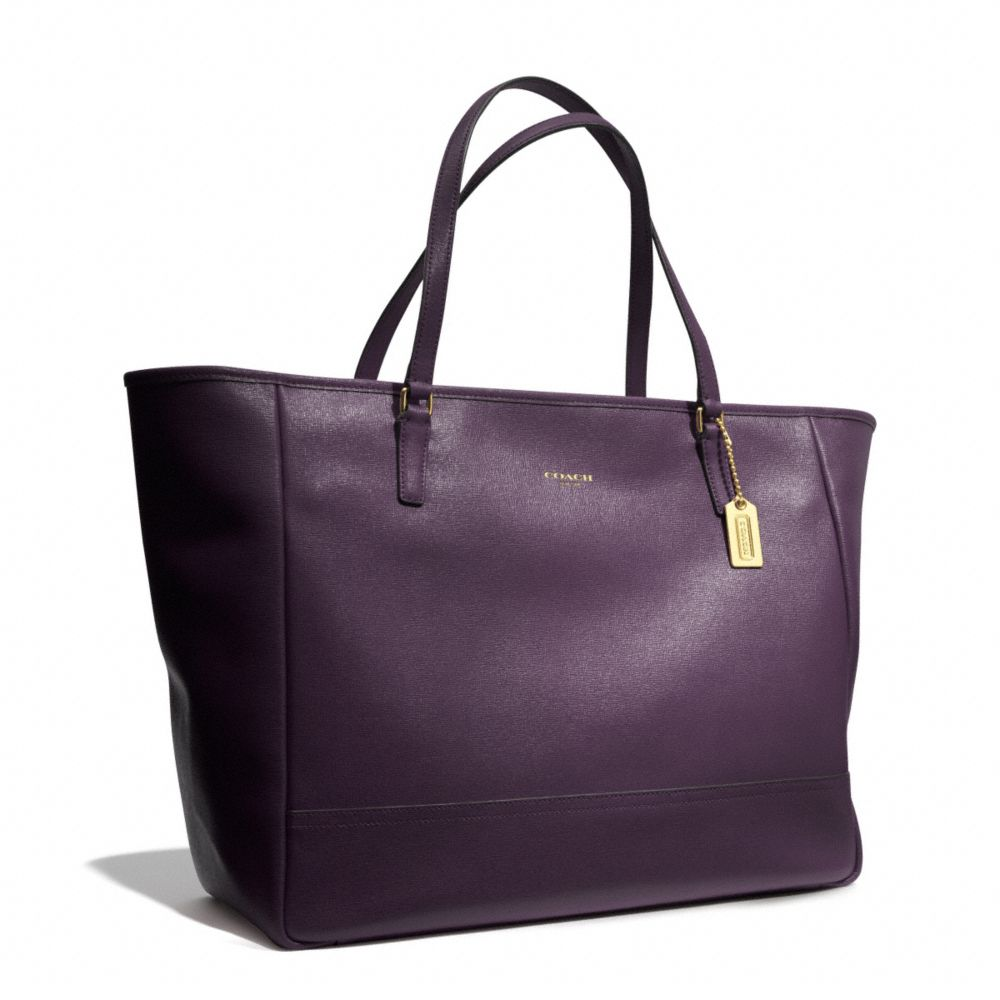 e9928ab27fe0 Lyst - COACH Large City Tote in Saffiano Leather in Purple