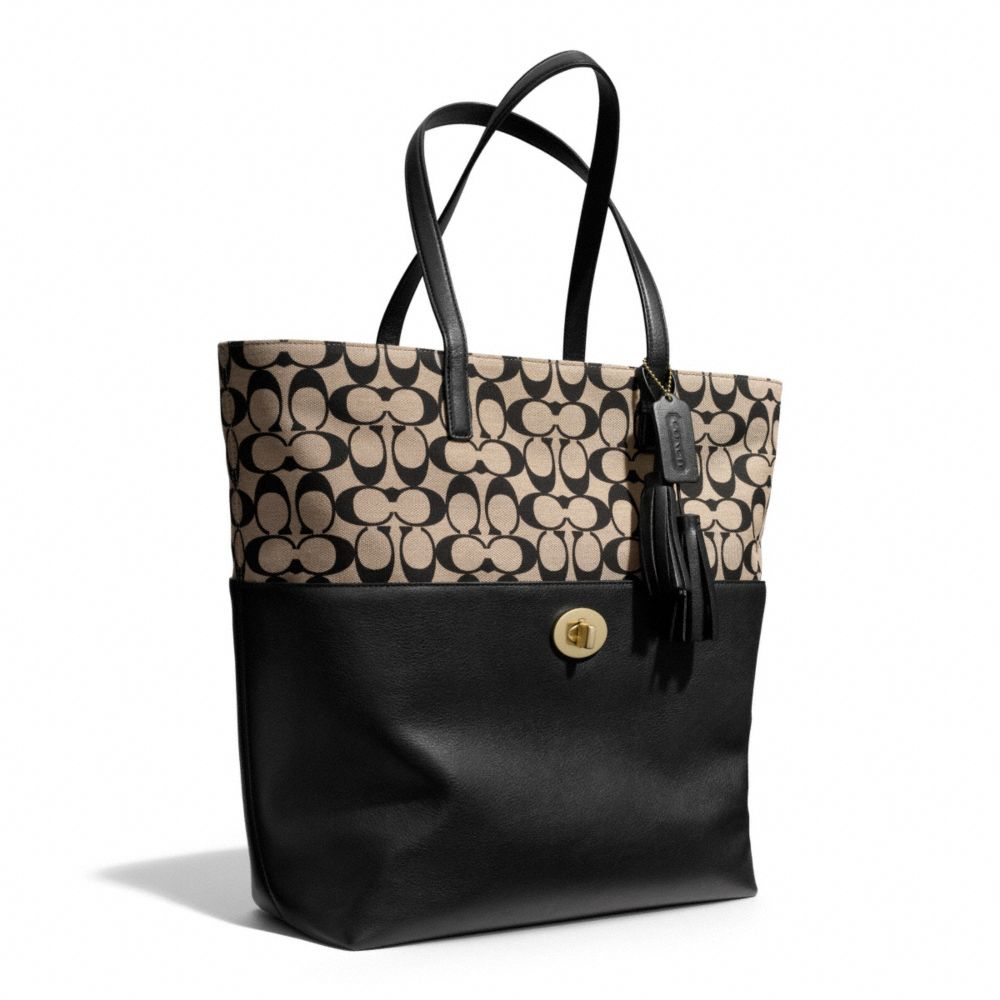 ... low cost lyst coach legacy printed signature turnlock tote in black  0d728 b6b89 e214abe35d1f8