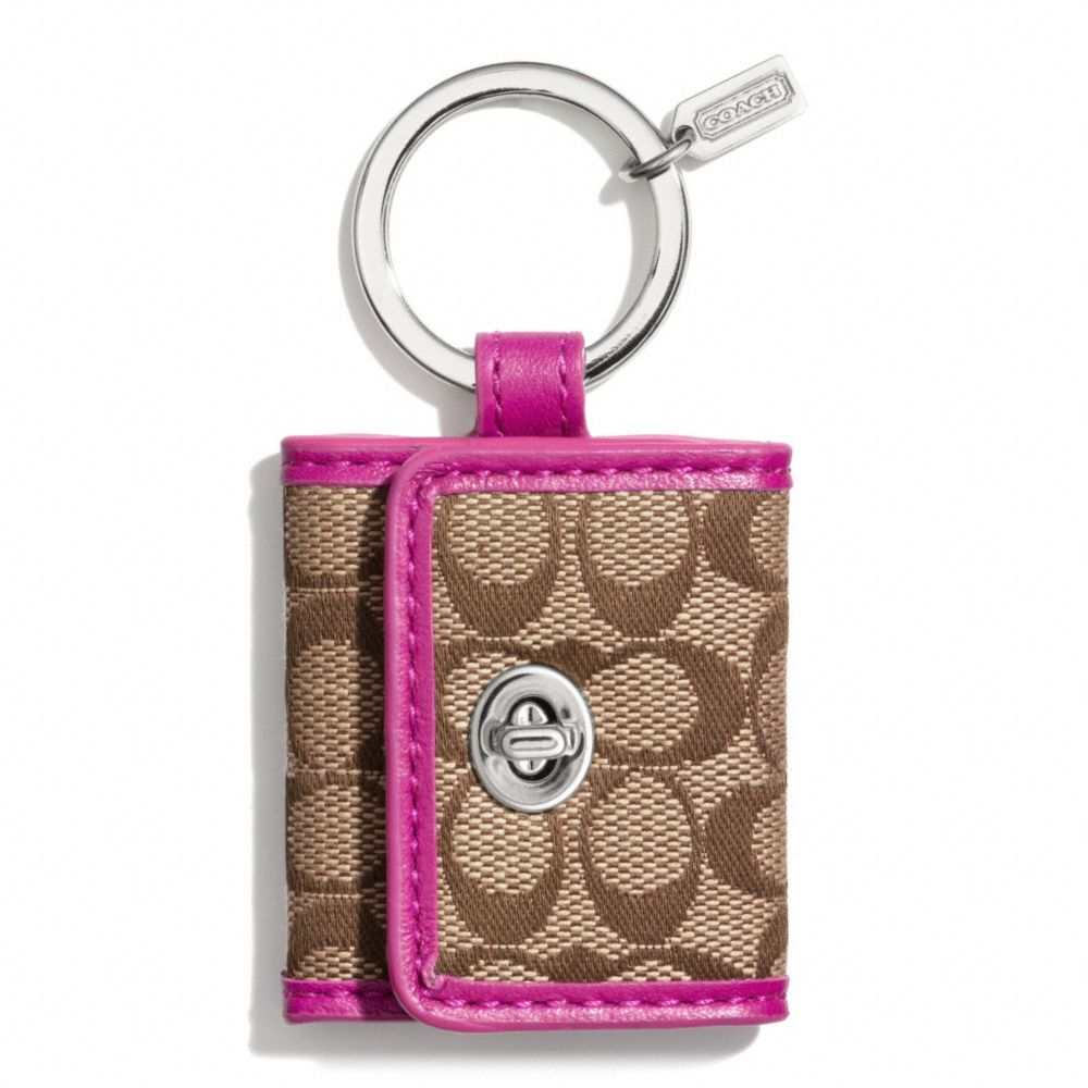 Lyst coach legacy signature picture frame key ring in purple gallery jeuxipadfo Gallery