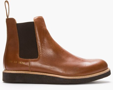 Common Projects Brown Leather Chelsea Boots In Brown For