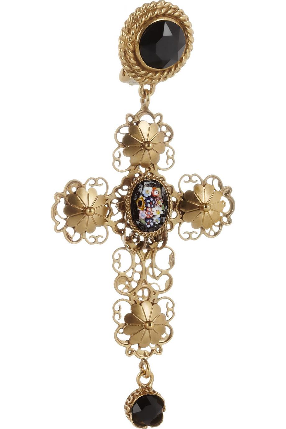 Dolce Amp Gabbana Goldplated Swarovski Crystal Cross Clip