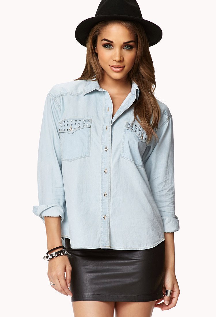 4764e73a960 Lyst - Forever 21 Bejeweled Chambray Shirt in Blue