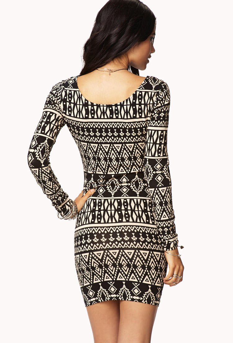 Lyst Forever 21 Tribal Print Bodycon Dress In Brown