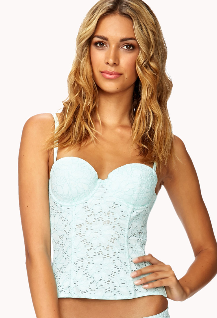 7f2515184bc Forever 21 Eyelet Corset in Blue - Lyst