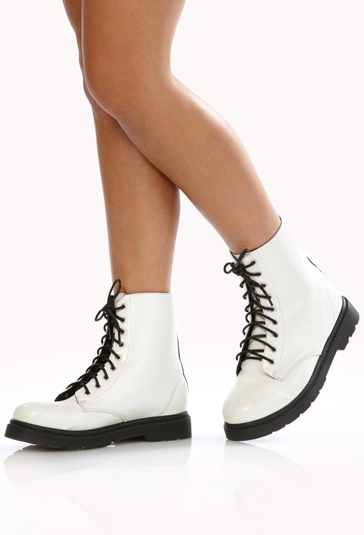 Lyst - Forever 21 Sleek Combat Boots in White