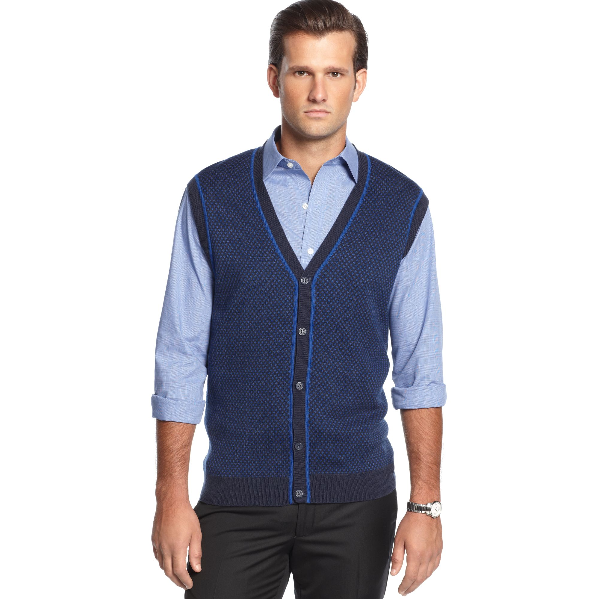 Geoffrey beene Button Front Vneck Birdseye Sweater Vest in Blue ...