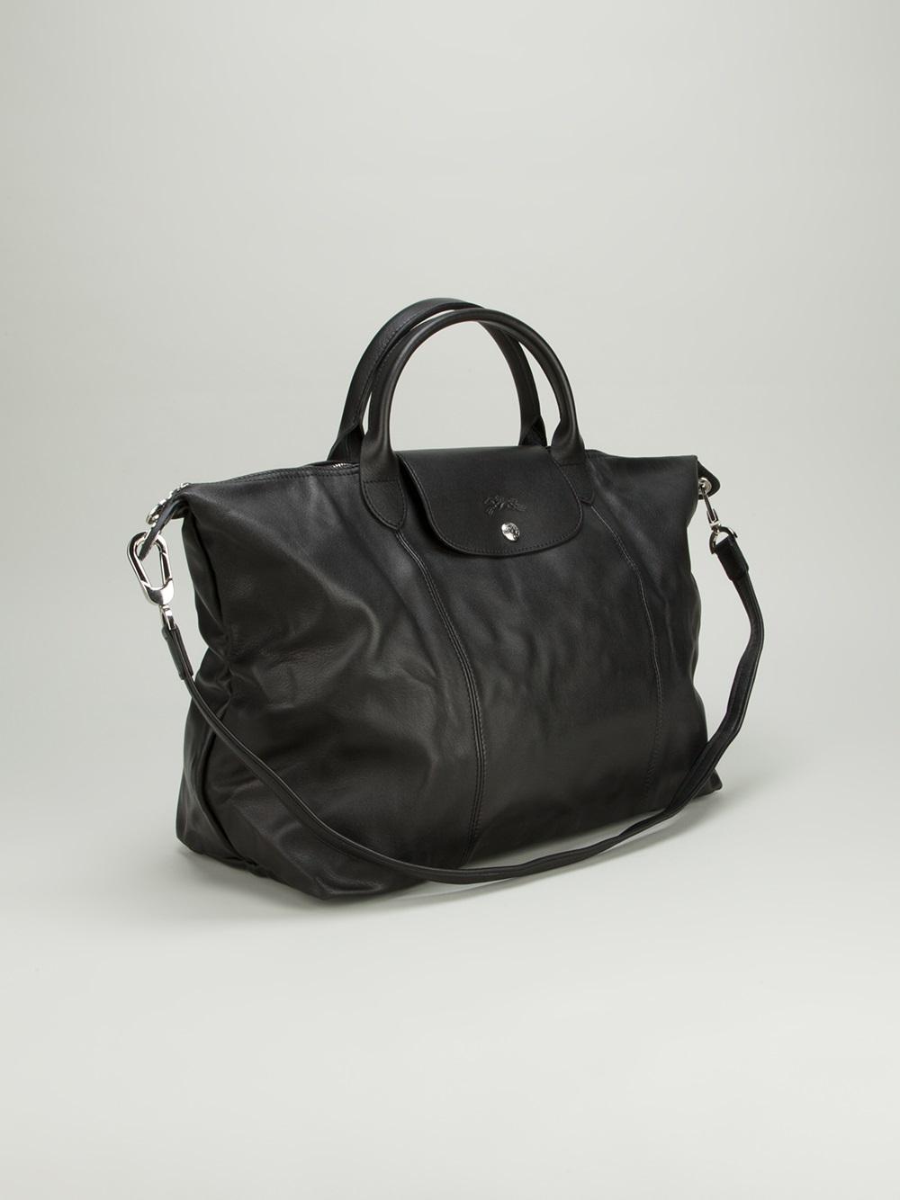 Longchamp Le Pliage Cuir Tote in Black - Lyst 767ecd33359c7