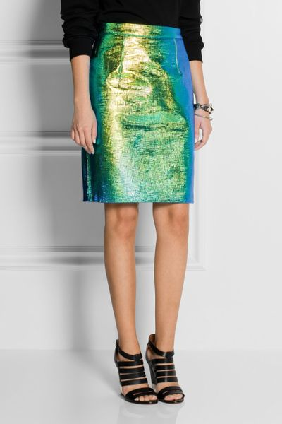 milly edith holographic reptileeffect leather skirt in