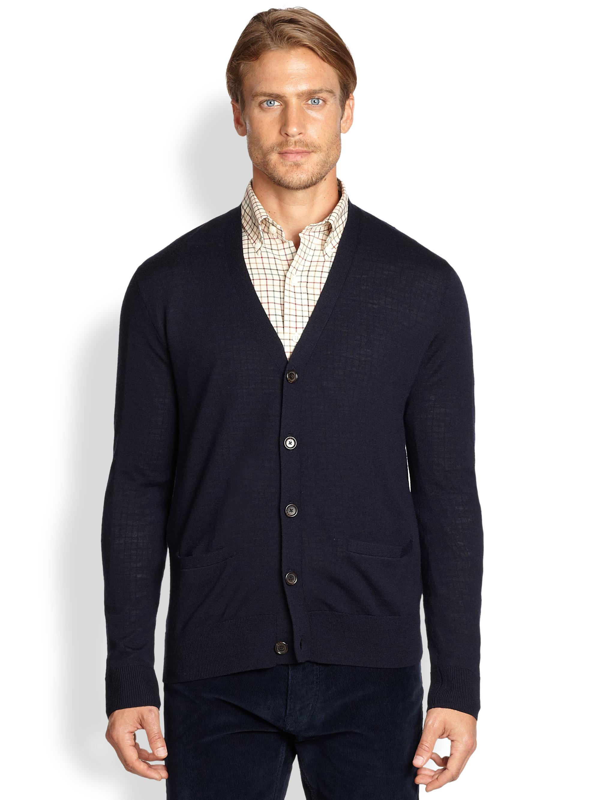 Polo ralph lauren Merino Wool Vneck Cardigan in Blue for Men | Lyst