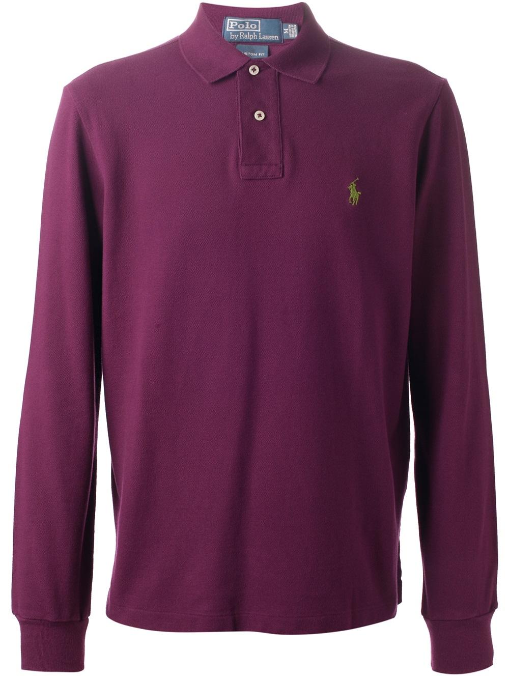 Polo ralph lauren cotton long sleeve custom fit polo shirt for Long sleeve purple polo shirt
