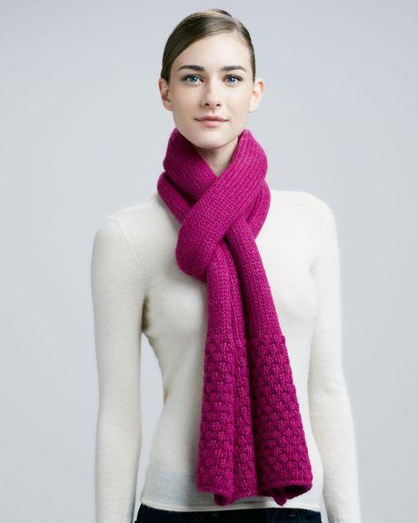portolano popcorn stitch scarf in purple lyst