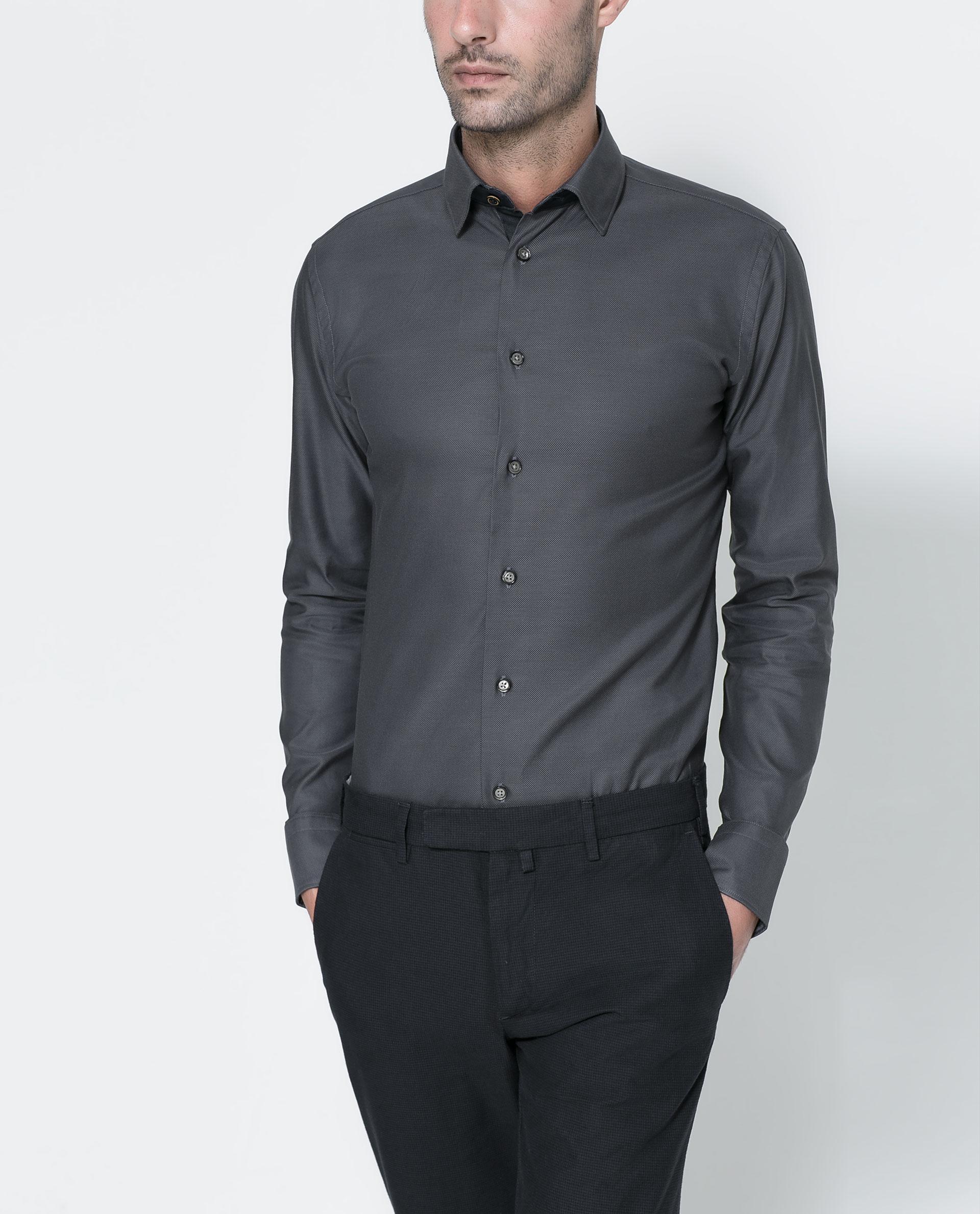 Zara Plain Shirt in Gray for Men | Lyst