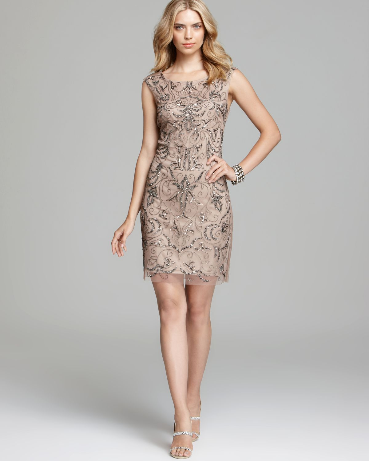 Lyst - Adrianna Papell Mesh Sheath Dress - Beaded in Natural