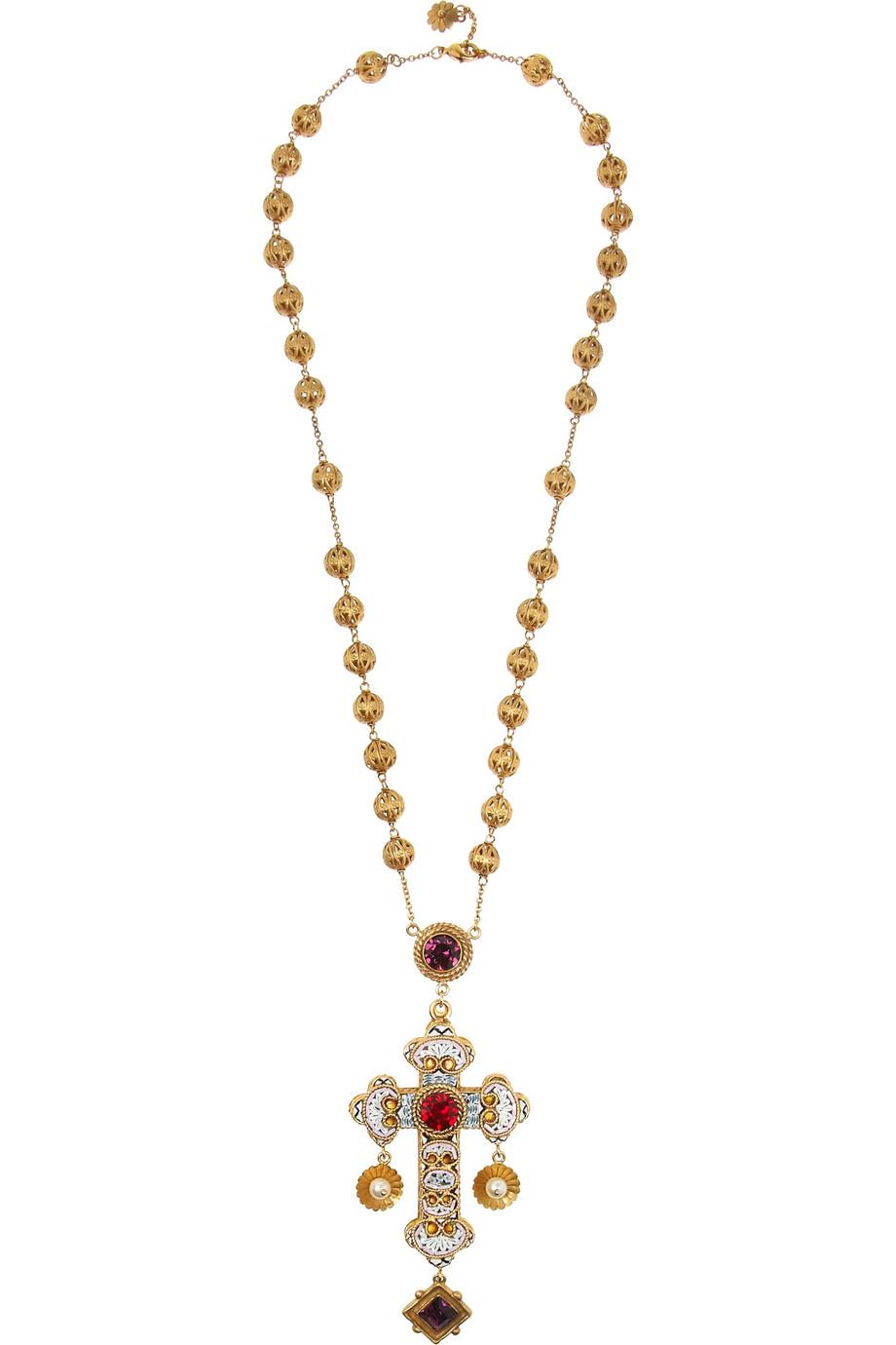 crystal rose necklace - Metallic Dolce & Gabbana DsNsNh