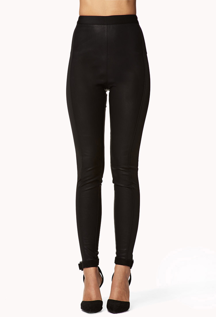 Forever 21 High-Waisted Faux Leather Pants in Black