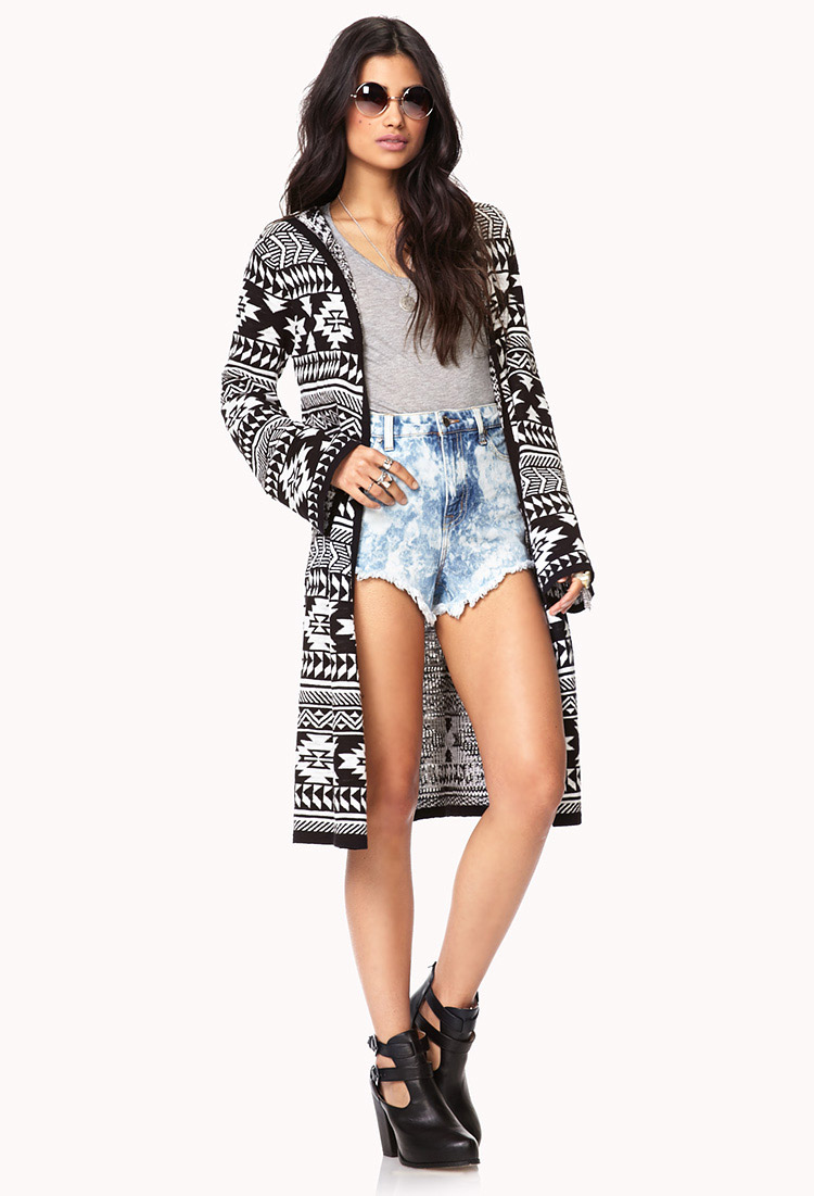 Forever 21 Tribal Print Maxi Cardigan in Black | Lyst
