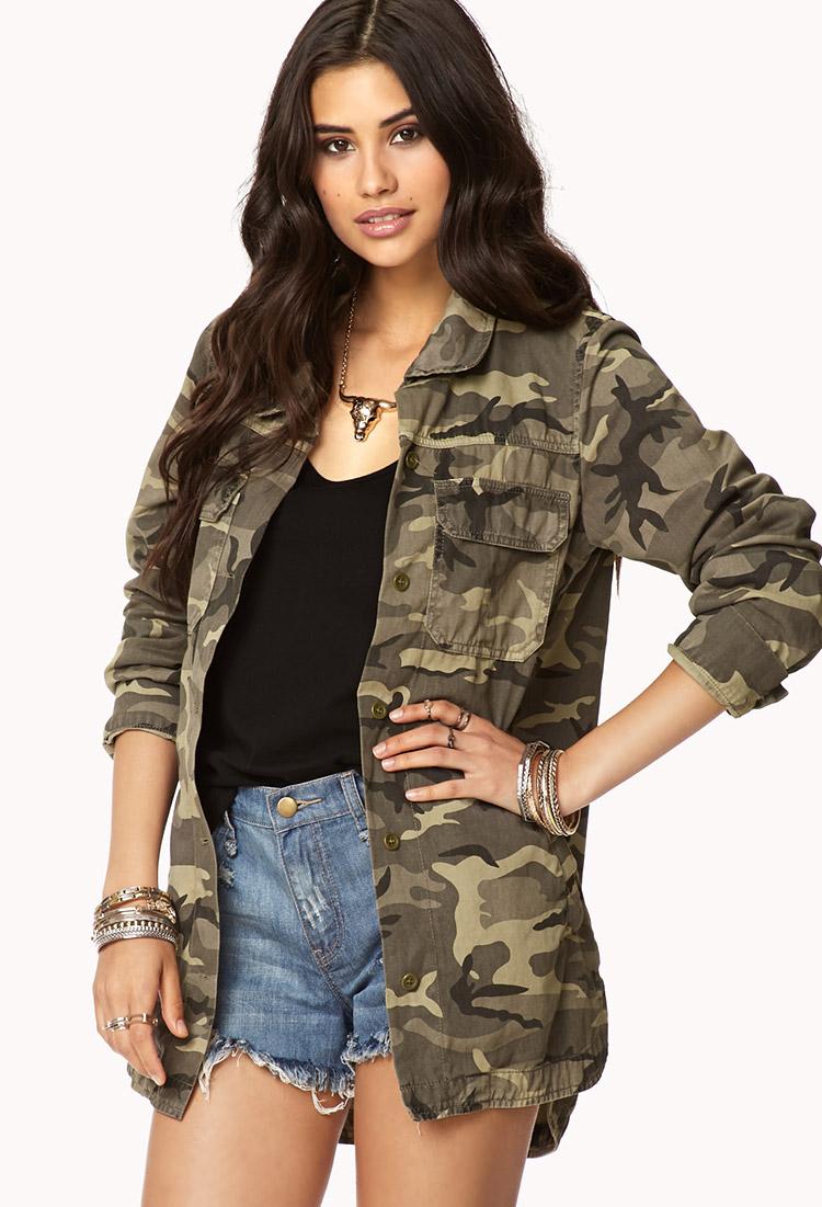 Camouflage utility jacket women's